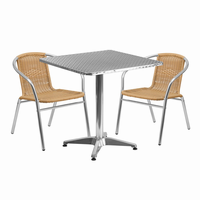 Flash Furniture 27.5'' Square Aluminum Indoor-Outdoor Table with 2 Beige Rattan Chairs