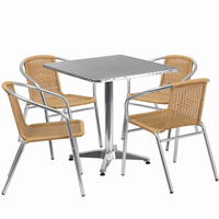 Flash Furniture 27.5'' Square Aluminum Indoor-Outdoor Table with 4 Beige Rattan Chairs