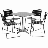 Flash Furniture 27.5'' Square Aluminum Indoor-Outdoor Table with 4 Black Metal Stack Chairs