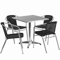 Flash Furniture 27.5'' Square Aluminum Indoor-Outdoor Table with 4 Black Rattan Chairs