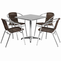 Flash Furniture 27.5'' Square Aluminum Indoor-Outdoor Table with 4 Dark Brown Rattan Chairs
