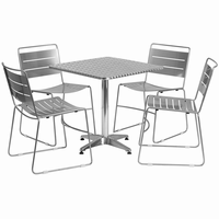Flash Furniture 27.5'' Square Aluminum Indoor-Outdoor Table with 4 Silver Metal Stack Chairs