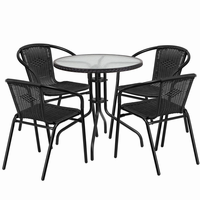 Flash Furniture 28'' Round Glass Metal Table with Black Rattan Edging and 4 Black Rattan Stack Chairs