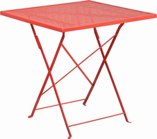 Flash Furniture 28'' Square Coral Indoor-Outdoor Steel Folding Patio Table