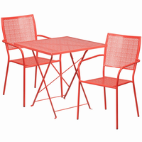 Flash Furniture 28'' Square Coral Indoor-Outdoor Steel Folding Patio Table Set with 2 Square Back Chairs