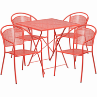 Flash Furniture 28'' Square Coral Indoor-Outdoor Steel Folding Patio Table Set with 4 Round Back Chairs
