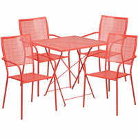 Flash Furniture 28'' Square Coral Indoor-Outdoor Steel Folding Patio Table Set with 4 Square Back Chairs