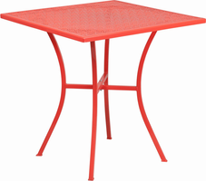Flash Furniture 28'' Square Coral Indoor-Outdoor Steel Patio Table
