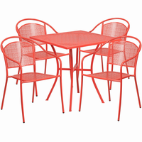 Flash Furniture 28'' Square Coral Indoor-Outdoor Steel Patio Table Set with 4 Round Back Chairs