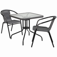 Flash Furniture 28'' Square Glass Metal Table with Gray Rattan Edging and 2 Gray Rattan Stack Chairs