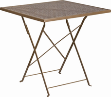 Flash Furniture 28'' Square Gold Indoor-Outdoor Steel Folding Patio Table