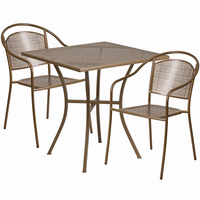 Flash Furniture 28'' Square Gold Indoor-Outdoor Steel Patio Table Set with 2 Round Back Chairs