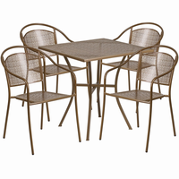 Flash Furniture 28'' Square Gold Indoor-Outdoor Steel Patio Table Set with 4 Round Back Chairs