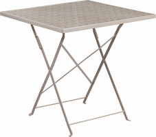 Flash Furniture 28'' Square Light Gray Indoor-Outdoor Steel Folding Patio Table