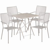 Flash Furniture 28'' Square Light Gray Indoor-Outdoor Steel Folding Patio Table Set with 4 Square Back Chairs