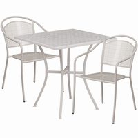 Flash Furniture 28'' Square Light Gray Indoor-Outdoor Steel Patio Table Set with 2 Round Back Chairs
