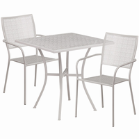 Flash Furniture 28'' Square Light Gray Indoor-Outdoor Steel Patio Table Set with 2 Square Back Chairs