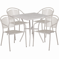 Flash Furniture 28'' Square Light Gray Indoor-Outdoor Steel Patio Table Set with 4 Round Back Chairs