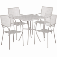 Flash Furniture 28'' Square Light Gray Indoor-Outdoor Steel Patio Table Set with 4 Square Back Chairs
