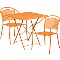 Flash Furniture 28'' Square Orange Indoor-Outdoor Steel Folding Patio Table Set with 2 Round Back Chairs