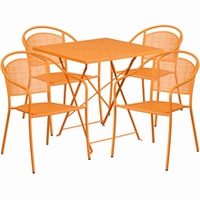 Flash Furniture 28'' Square Orange Indoor-Outdoor Steel Folding Patio Table Set with 4 Round Back Chairs