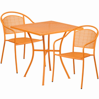 Flash Furniture 28'' Square Orange Indoor-Outdoor Steel Patio Table Set with 2 Round Back Chairs