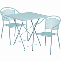 Flash Furniture 28'' Square Sky Blue Indoor-Outdoor Steel Folding Patio Table Set with 2 Round Back Chairs