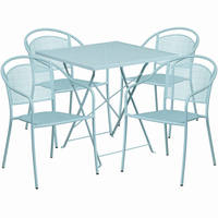 Flash Furniture 28'' Square Sky Blue Indoor-Outdoor Steel Folding Patio Table Set with 4 Round Back Chairs