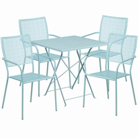 Flash Furniture 28'' Square Sky Blue Indoor-Outdoor Steel Folding Patio Table Set with 4 Square Back Chairs