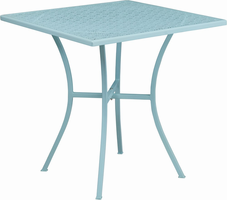 Flash Furniture 28'' Square Sky Blue Indoor-Outdoor Steel Patio Table