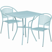 Flash Furniture 28'' Square Sky Blue Indoor-Outdoor Steel Patio Table Set with 2 Round Back Chairs