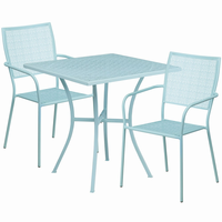 Flash Furniture 28'' Square Sky Blue Indoor-Outdoor Steel Patio Table Set with 2 Square Back Chairs