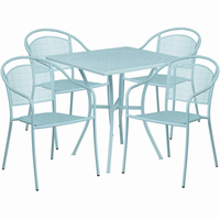 Flash Furniture 28'' Square Sky Blue Indoor-Outdoor Steel Patio Table Set with 4 Round Back Chairs