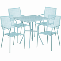 Flash Furniture 28'' Square Sky Blue Indoor-Outdoor Steel Patio Table Set with 4 Square Back Chairs