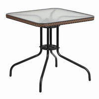 Flash Furniture 28'' Square Tempered Glass Metal Table with Dark Brown Rattan Edging