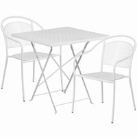 Flash Furniture 28'' Square White Indoor-Outdoor Steel Folding Patio Table Set with 2 Round Back Chairs