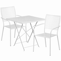 Flash Furniture 28'' Square White Indoor-Outdoor Steel Folding Patio Table Set with 2 Square Back Chairs