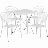 Flash Furniture 28'' Square White Indoor-Outdoor Steel Folding Patio Table Set with 4 Round Back Chairs