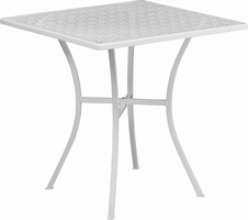 Flash Furniture 28'' Square White Indoor-Outdoor Steel Patio Table