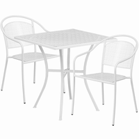 Flash Furniture 28'' Square White Indoor-Outdoor Steel Patio Table Set with 2 Round Back Chairs
