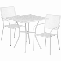Flash Furniture 28'' Square White Indoor-Outdoor Steel Patio Table Set with 2 Square Back Chairs