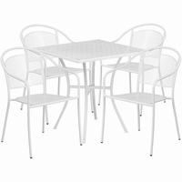 Flash Furniture 28'' Square White Indoor-Outdoor Steel Patio Table Set with 4 Round Back Chairs