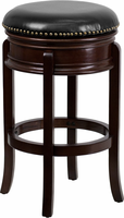 Flash Furniture 29'' High Backless Cappuccino Wood Barstool with Black Leather Swivel Seat