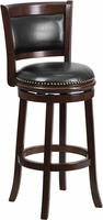 Flash Furniture 29'' High Cappuccino Wood Barstool with Black Leather Swivel Seat