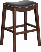 Flash Furniture 30'' High Backless Cappuccino Wood Barstool with Black Leather Seat
