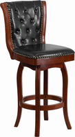 Flash Furniture 30'' High Cherry Wood Barstool with Black Leather Swivel Seat
