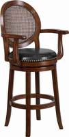 Flash Furniture 30'' High Expresso Wood Barstool with Arms and Black Leather Swivel Seat
