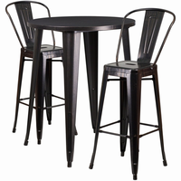 Flash Furniture 30'' Round Black-Antique Gold Metal Indoor-Outdoor Bar Table Set with 2 Cafe Barstools