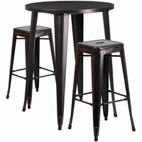 Flash Furniture 30'' Round Black-Antique Gold Metal Indoor-Outdoor Bar Table Set with 2 Square Seat Backless Barstools