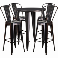 Flash Furniture 30'' Round Black-Antique Gold Metal Indoor-Outdoor Bar Table Set with 4 Cafe Barstools